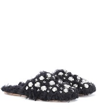 Miu Miu Embellished Faux Fur Slippers Black