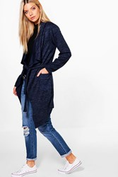 Boohoo Erin Belted Waterfall Cardigan Navy