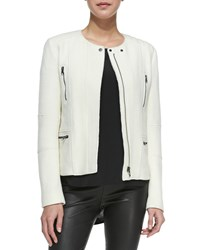 Vince Boucle Moto Jacket Off White