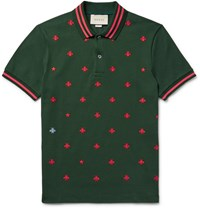 Gucci Contrast Tipped Embroidered Stretch Cotton Pique Polo Shirt Dark Green