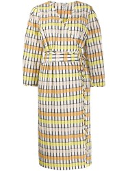 Baum Und Pferdgarten Wrap Front Striped Pattern Dress 60