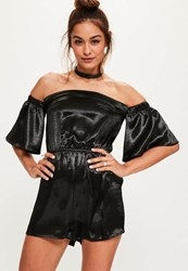 Missguided Khaki Satin Embroidered Wrap Playsuit
