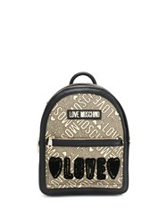 Love Moschino Leather Logo Backpack Black