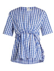 Msgm Gingham Ruffle Trimmed Cotton Top Blue White
