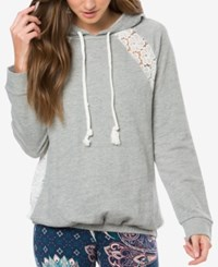 O'neill Juniors' Avon Lace Inset Hoodie Heather Gr