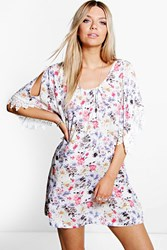 Boohoo Floral Print Crochet Sleeve Dress Ivory