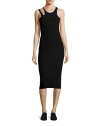 Helmut Lang Slash Rib Knit Sleeveless Midi Dress Black