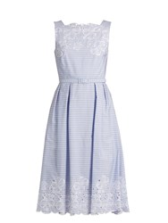 Erdem Mara Broderie Anglaise Striped Cotton Dress Blue White
