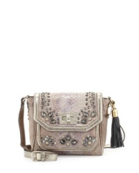 Mary Frances Studded Snake Embossed Leather Chilled Crossbody Bag Pewter