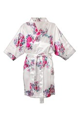 Women's Cathy's Concepts Floral Satin Robe White G