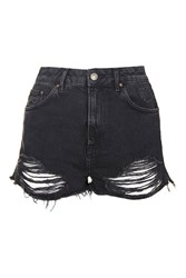 Topshop Petite Moto Ripped Mom Shorts Washed Black