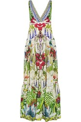Camilla Exotic Hypnotic Crystal Embellished Silk Crepe De Chine Maxi Dress Green