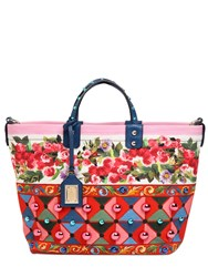 Dolce And Gabbana Beatrice Studded Printed Canvas Tote Bag