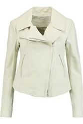 Donna Karan Leather Biker Jacket Gray