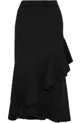 Temperley London Brise Ruffled Stretch Knit Skirt Black