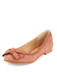 Frye Esther Bow Nubuck Leather Ballet Flat Cognac