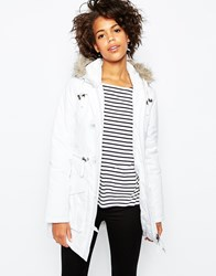 Brave Soul Military Parka Jacket With Faux Fur Hood White