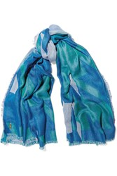 Maje Elsa Houndstooth Cotton Blend Scarf Blue
