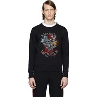 Alexander Mcqueen Black Glowing Botanical Skull Sweatshirt