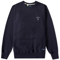 Bleu De Paname Anchor Logo Crew Sweat Blue