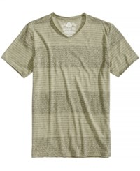 American Rag Topstitched Stripe T Shirt Green Earth
