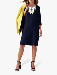 Pure Collection Linen Tie Neck Dress Navy Yellow