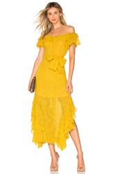 Marissa Webb Sofia Embroidered Dress Mustard