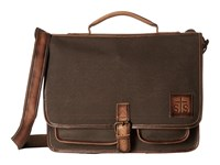 Sts Ranchwear The Foreman Portfolio Dark Khaki Canvas Leather Handbags Brown