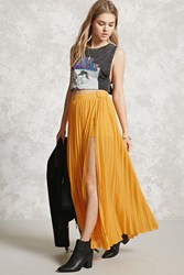Forever 21 Side Slit Accordion Maxi Skirt Mustard