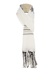 Oui Stripe Fringed Scarf White