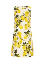 Dolce And Gabbana Lemon Print Floral Brocade Embellished Dress Yellow Multi