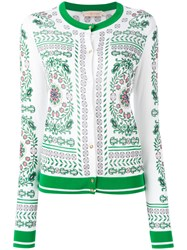 Tory Burch Patterned Cardigan Green