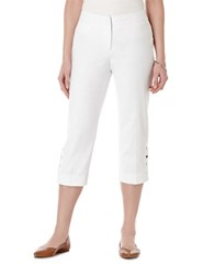Rafaella Petite Curvy Fit Faux Snap Capri Pants White