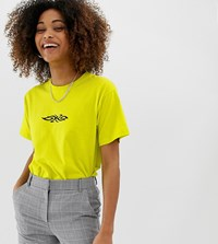 Adolescent Clothing Tattoo Print T Shirt In Neon Yellow