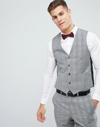 French Connection Wedding Skinny Waistcoat In Grey Check Light Grey
