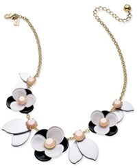 Kate Spade New York Gold Tone Pink Stone Floral Necklace
