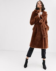 2Nd Day Lalla Faux Fur Teddy Coat Brown