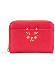 Charlotte Olympia Feline Zip Around Square Wallet Red