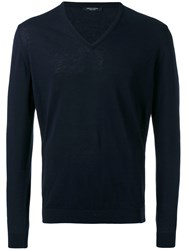 Roberto Collina V Neck Sweater Men Cotton 52 Blue