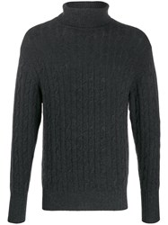 N.Peal Cable Knit Roll Neck Jumper Black