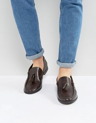 Frank Wright Tassel Loafers In Brown Leather Brown Black