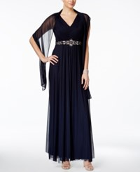 Jessica Howard Embellished A Line Gown And Scarf Navy