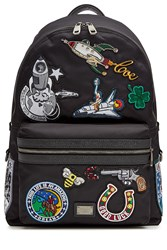 Dolce And Gabbana Fabric Backpack With Patches Black