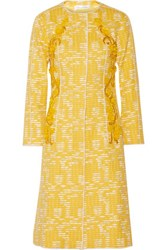 Oscar De La Renta Embellished Cotton Blend Tweed Coat Yellow