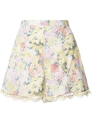 Zimmermann Scalloped Hem Floral Shorts White