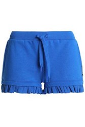 Just Cavalli Embellished French Cotton Blend Terry Pajama Shorts Blue