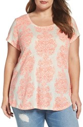 Lucky Brand Plus Size Women's Neon Woodblock Print Tee