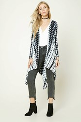 Forever 21 Abstract Print Hoodie Cardigan Cream Navy