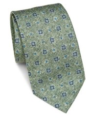 Saks Fifth Avenue Medallion Silk Tie Green Blue