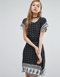Trollied Dolly Paisley Print Dress Black And White Paisle